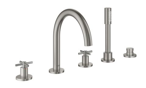 Atrio New Комлект для ванны на 5 отверстий (смеситель двухвентильный, круглый излив, крестообразные ручки, ручной душ, переключатель), СуперСталь