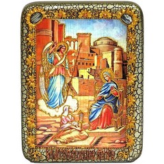 Инкрустированная рукописная икона Благовещение Пресвятой Богородицы 20х15см на натуральном дереве, в подарочной коробке