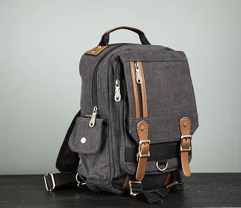 Черный компактный рюкзак с одной лямкой через плечо