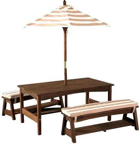 KidKraft Стол со скамейками и зонтом - белые и бежевые полосы 00500_КЕ
