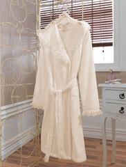 LUNA- ЛУНА  Кремовый махровый женский халат Soft Cotton (Турция)