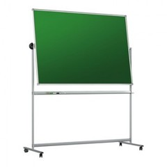 Доска меловая - магнитная-зелен/маркерная-белая 100х150 вращ. мобильн