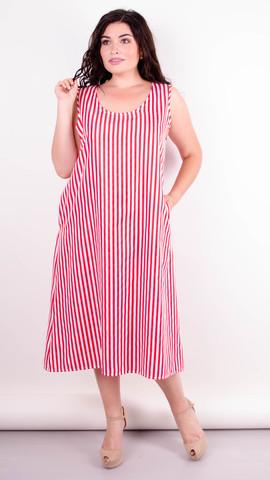 Море. Практичное платье больших размеров. Красная полоса.