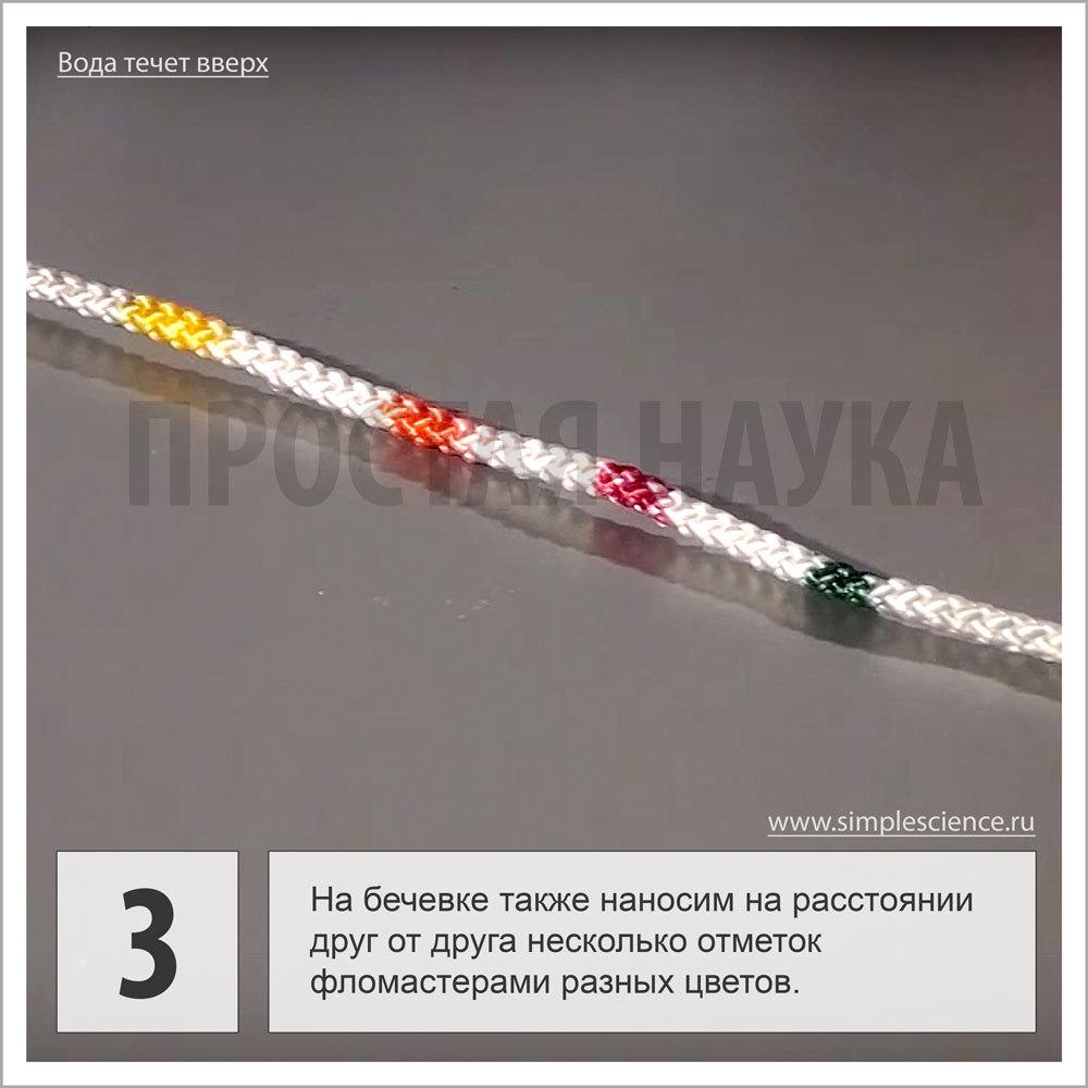 На бечевке на расстоянии друг от друга также наносим несколько отметок разноцветными фломастерами.