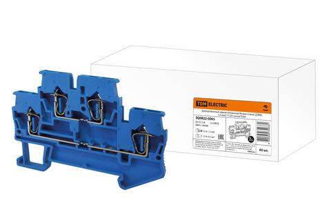 Двухуровневый зажим клеммный безвинтовой (ДЗКБ) 1,5 мм2 17,5А синий TDM