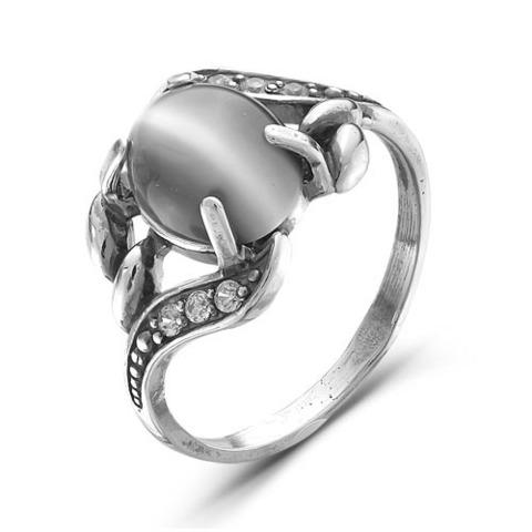 Кольцо с кошачьим глазом и серебрением