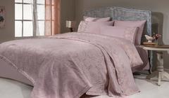 Набор КПБ с  покрывалом ПИКЕ  + полотенце REYHAN Gelin Home  розовый евро