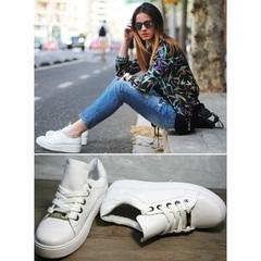 Белые кожаные женские кроссовки Molly shoes 557 Whate