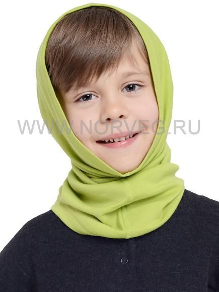 Многофунциональная бандана для мальчиков Норвег Монстр салатовая с 100% шерстью мериносов