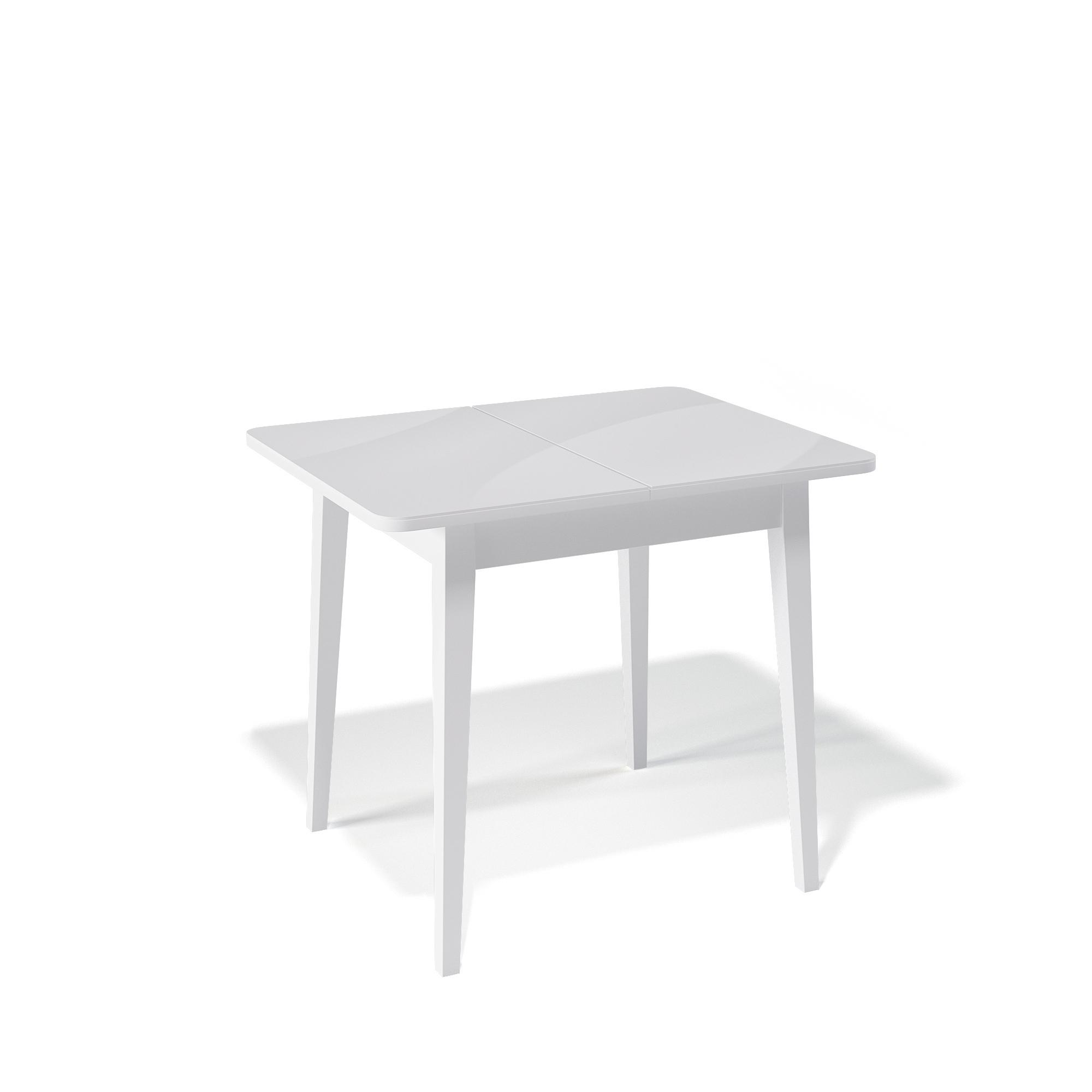 Стол Kenner 900M для кухни, раздвижной, стеклянный, белый глянцевый