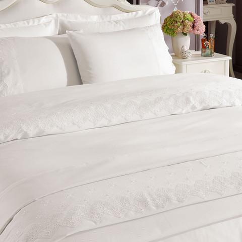 Набор постельного белья с пледом Alianz кремовый Tivolyo Home