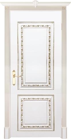 Дверь Prestigio Риволи, цвет  белый/патина золото, глухая