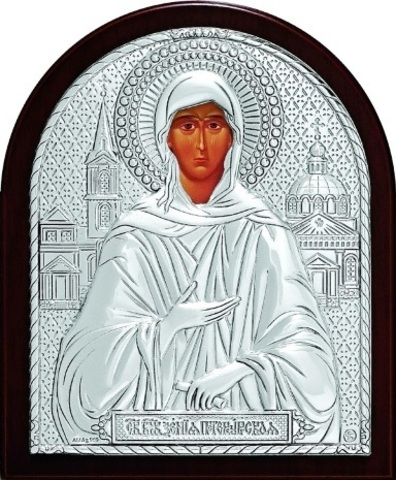Серебряная икона Святая Блаженная Ксения Петербургская 11х9см