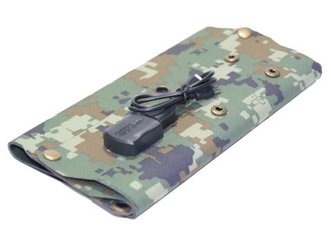 Складной гибкий солнечный элемент 7W, 5V с комплектом проводов к телефону (iPhone, USB Micro)