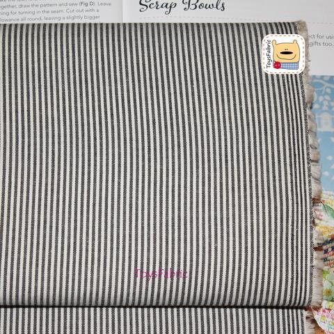 Ткань хлопок Корея 20866 (чёрная полоска двусторонняя) 45х55см