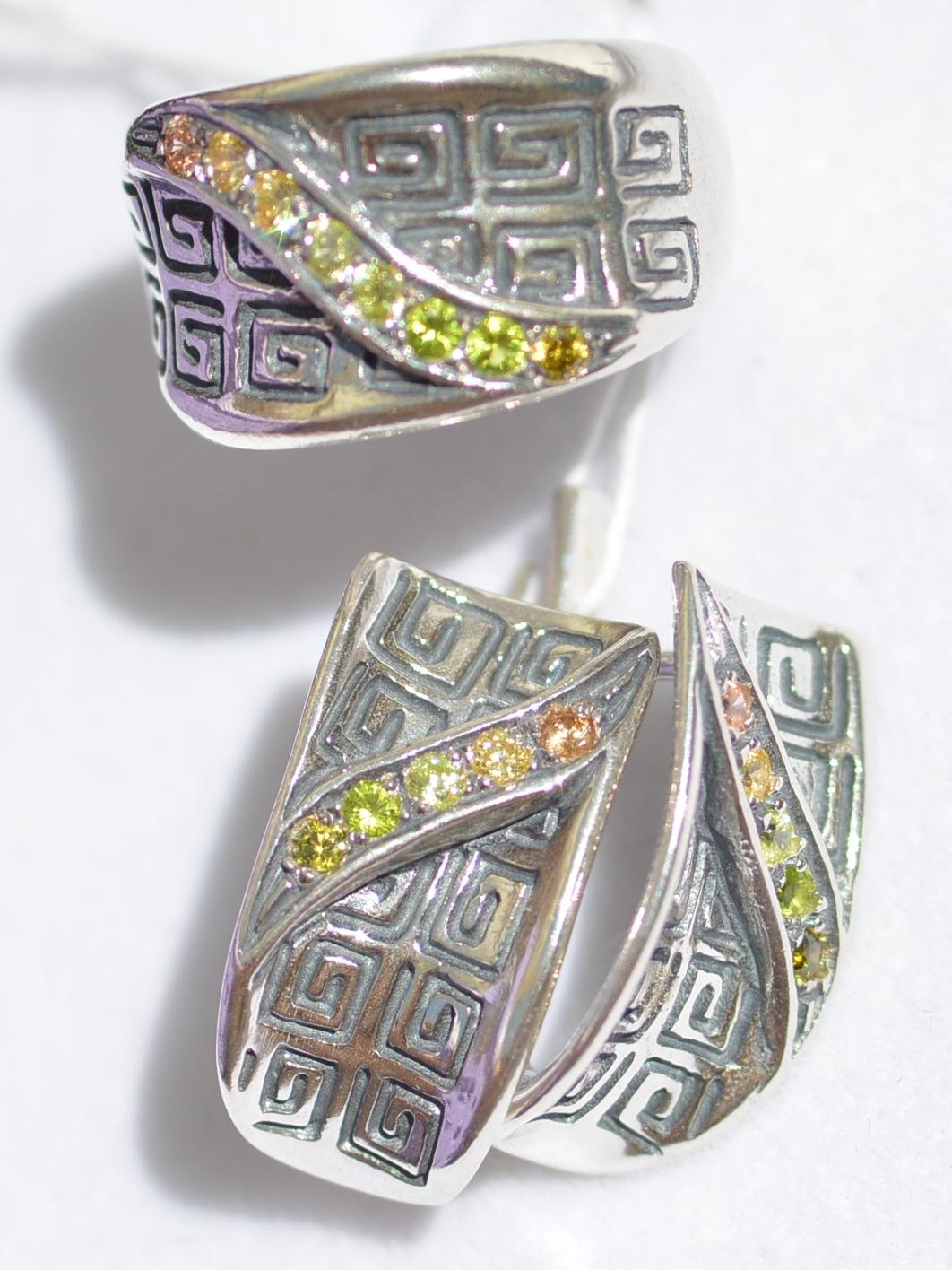 Арт103 (кольцо + серьги из серебра)