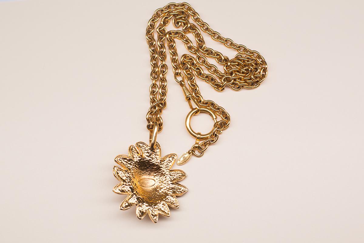 Стильное колье с головой льва от Chanel  |  Vintage Chanel Leo CC Logo Long Chain Necklace