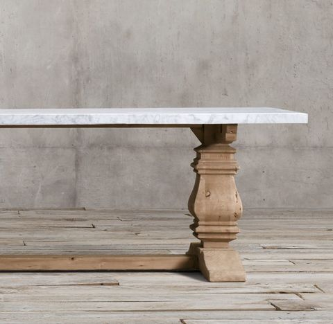 Salvaged Wood & Marble Trestle Rectangular Dining Table