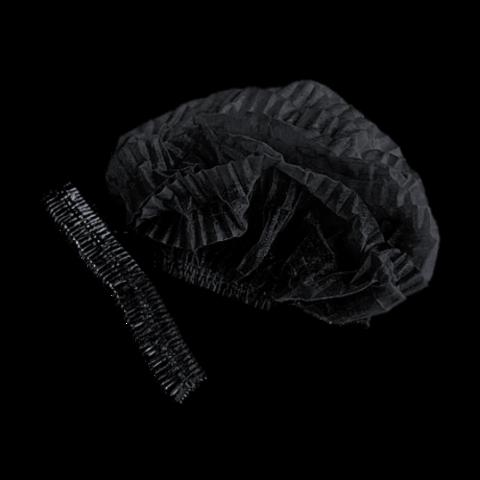 Шапочка-шарлотка одноразовая (1уп - 100шт) черная