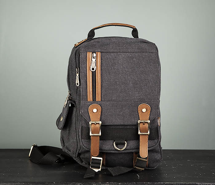 BAG394-1 Черный компактный рюкзак с одной лямкой через плечо фото 02