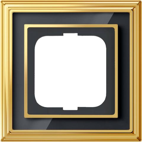 Рамка на 1 пост. Цвет Латунь полированная, чёрное стекло. ABB(АББ). Dynasty(Династия). 1754-0-4565