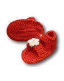 Вязаные босоножки - Красный. Одежда для кукол, пупсов и мягких игрушек.