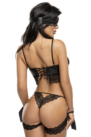 Эротический комплект черный со стрепапми и кружевом