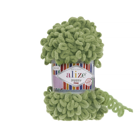 Купить Пряжа Ализе Пуффи Файн Код цвета 485 Зеленая трава | Интернет-магазин пряжи «Пряха»