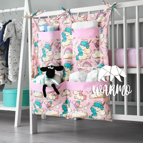 органайзер на ліжечко з рожевими єдинорогами фото