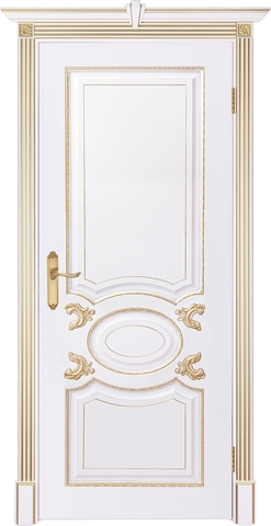 Дверь Prestigio Фарнезе, цвет  белый/патина золото, глухая