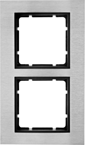Рамка на 2 поста нержавеющая сталь. Цвет Антрацит. Berker (Беркер). B.7. 10123606