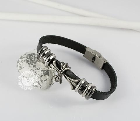 BL399-1 Мужской браслет из черной натуральной кожи с металлическим крестом (21 см)