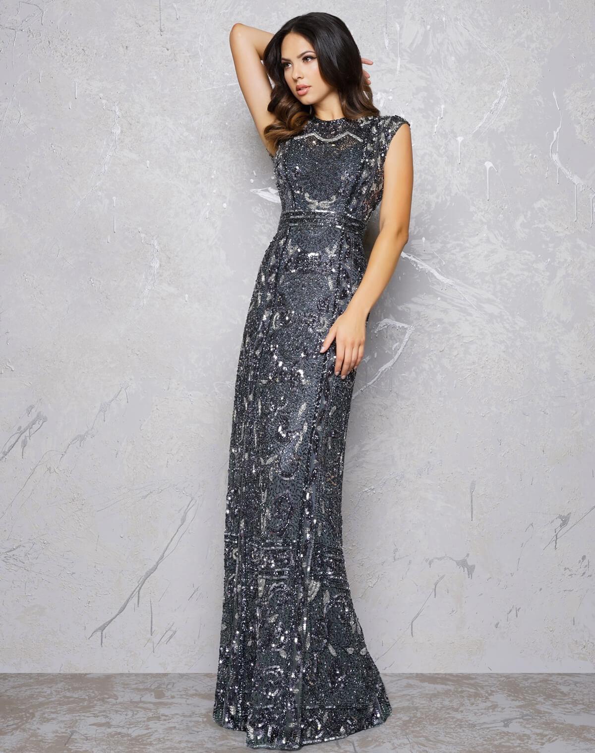 Вечернее платье в дымчато сером цвете Mac Duggal 47800