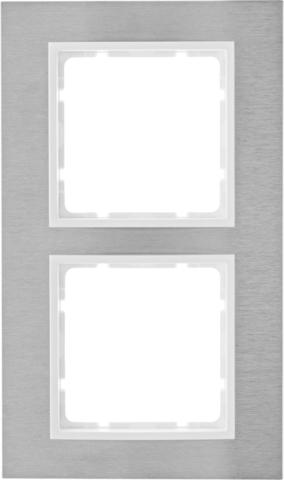 Рамка на 2 поста нержавеющая сталь. Цвет Полярная белизна. Berker (Беркер). B.7. 10123609