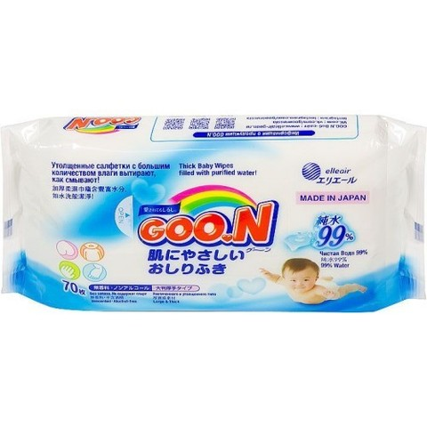 Goon. Влажные салфетки 0+, 1уп/70 шт