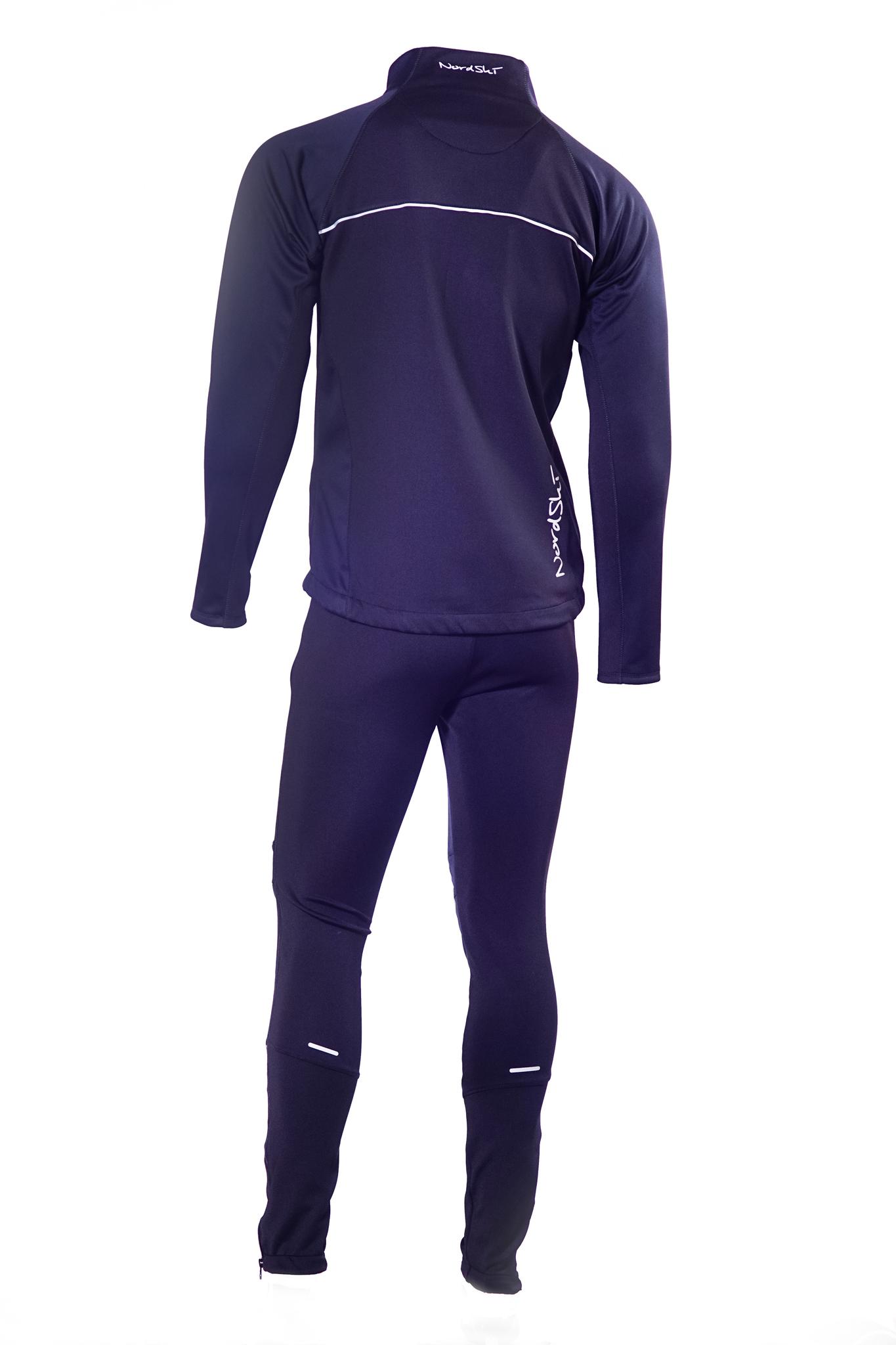 Мужской разминочный лыжный костюм Nordski Active (NSM224100) черный фото спина
