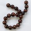 Бусина Бычий глаз, шарик, цвет - бордово-коричневый, 10 мм, нить