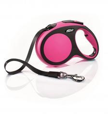 Flexi рулетка New Comfort M ремень, длина 5 м / вес собаки до 25 кг розовый