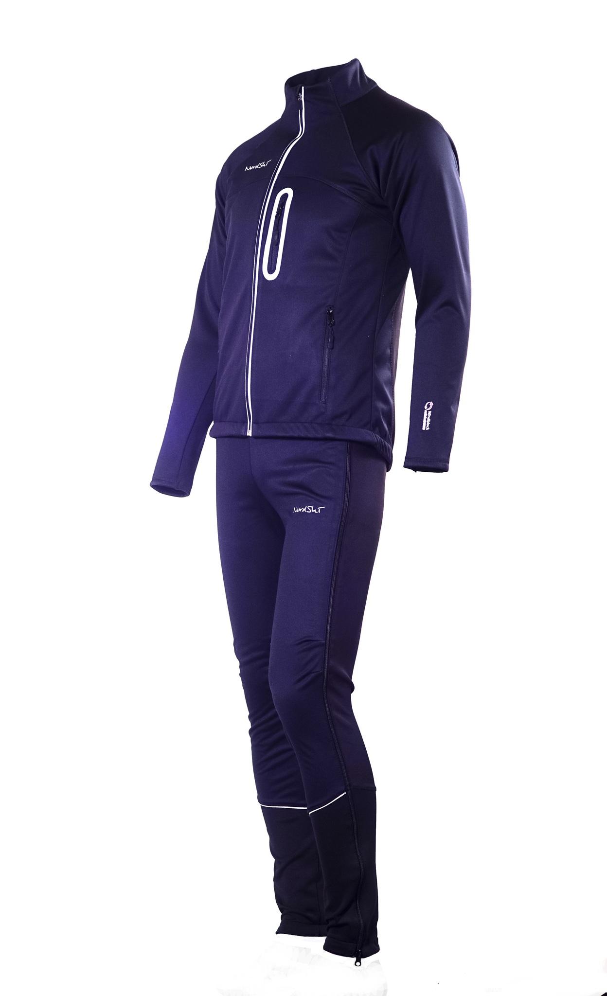Мужской разминочный лыжный костюм Nordski Active (NSM224100) черный фото