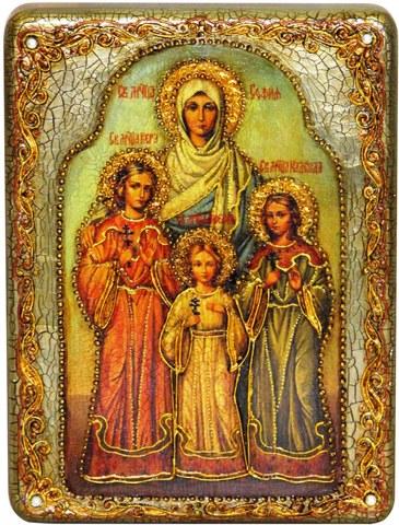 Инкрустированная икона Вера, Надежда, Любовь и мать их София 20х15см на натуральном дереве в подарочной коробке