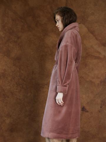 Пальто меховое с утеплителем с шалевым воротником бордо