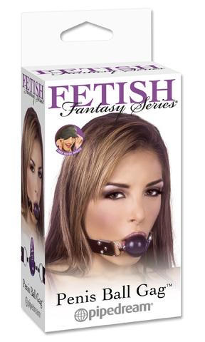 Фиолетовый гелевый кляп-фаллос Penis Ball Gag