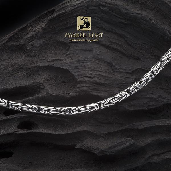 Цепь мужская серебро плетение Кардинал 50-70см
