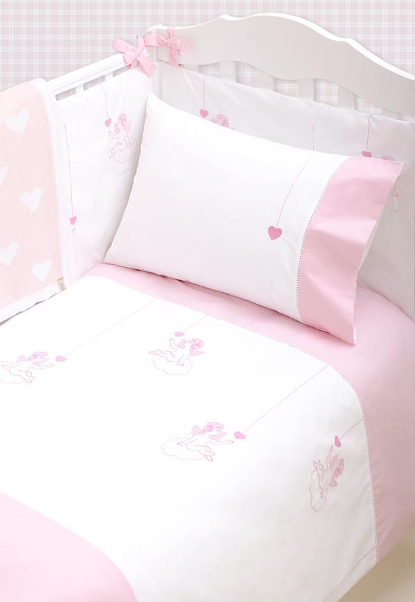 Детское постельное белье в кроватку Luxberry Angels розовое