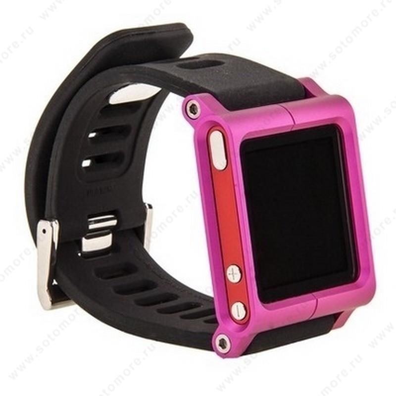 Сменный ремешок LunaTik для Apple iPod nano 6 в виде браслета черный ремешок розовый корпус