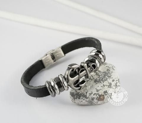 BL401-1 Мужской браслет из черной натуральной кожи с металлическим якорем (22 см)