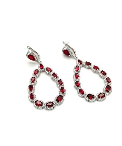 Серьги из серебра с подвесками с рубиновым кварцем