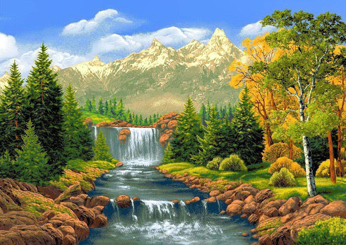 Гифка горы и водопады, спасибо ромашками