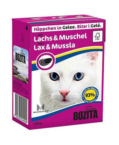 BOZITA консервы для кошек кусочки в желе с лососем и мидиями 370 г