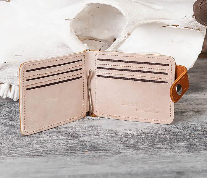 WB115-4 Кожаный зажим для денег ручной работы с застежкой фото 04